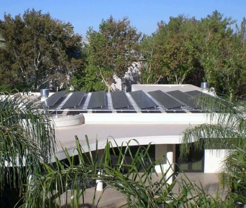 Silver LEED residence in Las Vegas solar panel array
